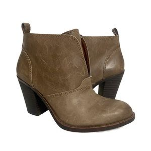 Lucky Brand Ehllen Booties Taupe Leather Slip On 6